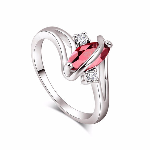 18k White Gold Plated Marquise Cut Garnet Ring Sz 7-9