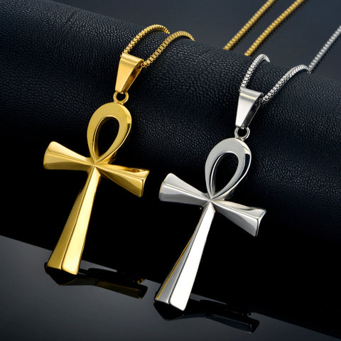 Stainless Steel Classic Ankh Design Pendant w/ Chain