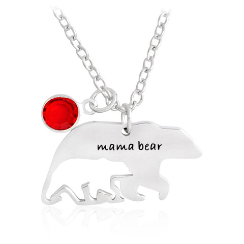 Stainless Steel Mama Bear / Baby Bear Birthstone Pendant w/ Chain