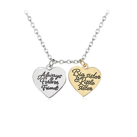 18K Gold Plated Lil Sis Always forever Friends Heart Pendant w/ Chain