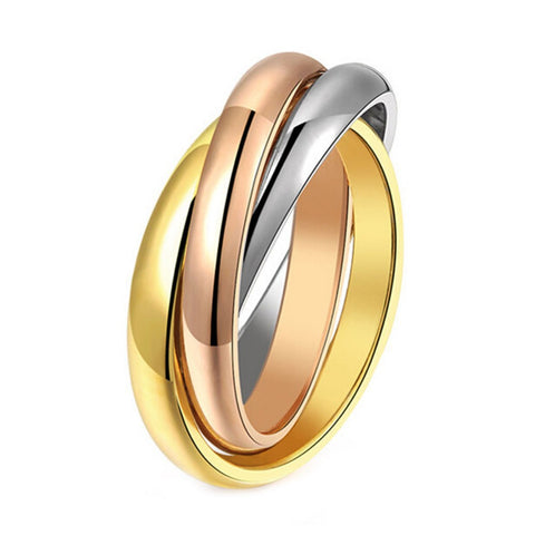 Stainless Steel Unique Tri Tone Band Ring Set Sz 6-9
