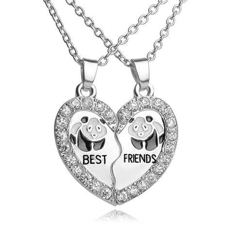18K Gold Plated White Gold Finish Double Panda Broken Heart Pendant w/ Chain