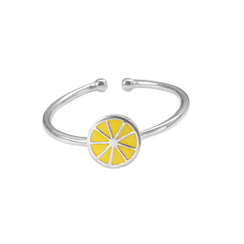 Sterling Silver Unique Lemon Top Design Ring Band Adjustable