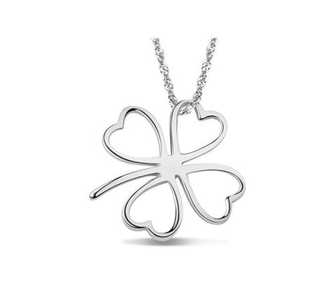 Sterling Silver Classic 4 Leaf Clover Pendant w/ Chain