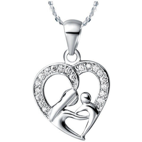 18k Gold Plated White Gold Finish Cute Heart Design Mother & Child CZ Pendant w/ Chain