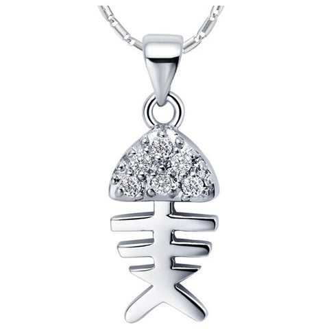 Sterling Silver Unique Design CZ Fishbone Pendant w/ Chain