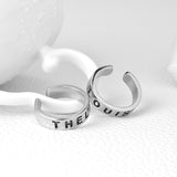 18K Gold Plated White Gold Finish 2 pcs Thelma / Louise Adjustable Ring Set