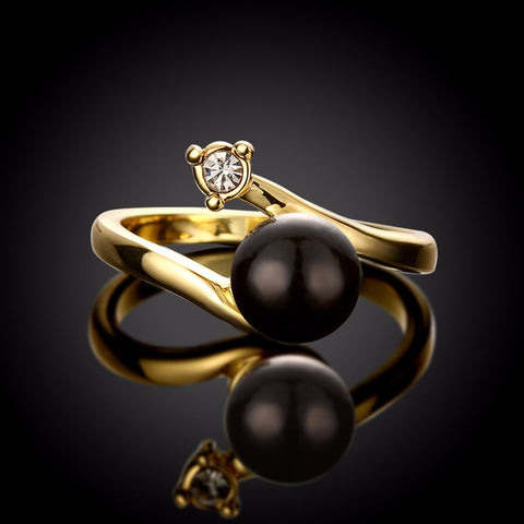 18K Gold Plated Beautiful Black Pearl / CZ Ring Sz 7-8