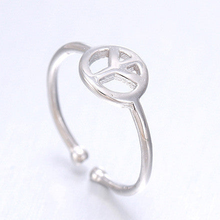 Sterling Silver Classic Peace Sign Design Adjustable Ring