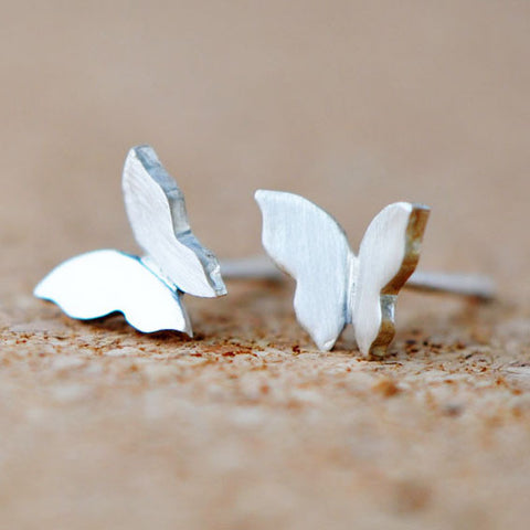 Sterling Silver Cute Design Butterfly Stud Earrings