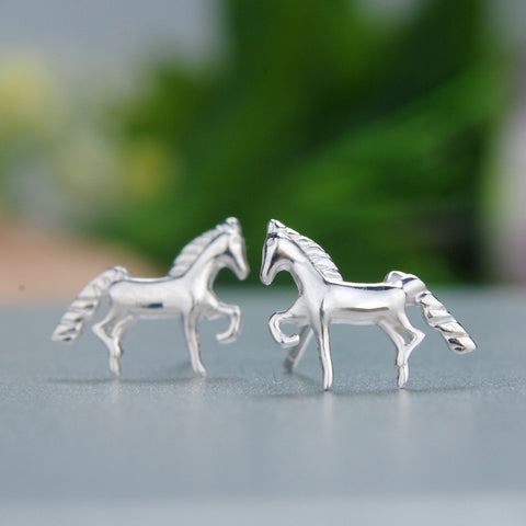 Sterling Silver Cute Horse Design Stud Earrings