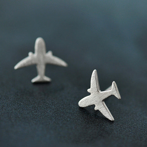 Sterling Silver Unique Airplane Design Stud Earrings