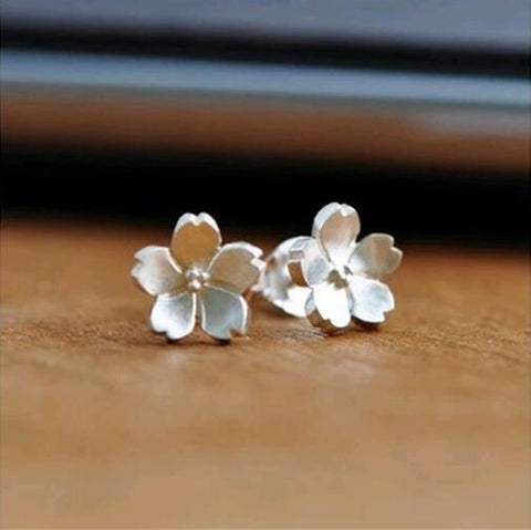 Sterling Silver Cute Design Open Flower Stud Earrings
