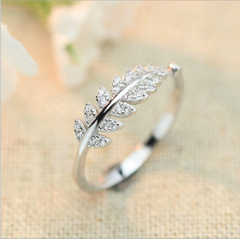 Sterling Silver Cute Leaf CZ Design Adjustable Ring