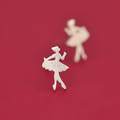 Sterling Silver Cute Ballerina Design Stud Earrings