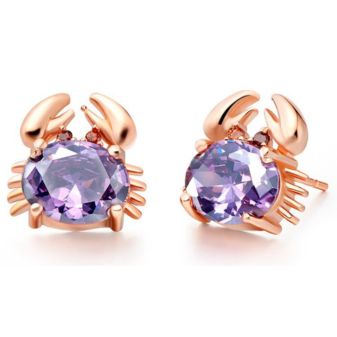 Sterling Silver Rose Gold Finish Crab Design Oval Amethyst CZ Stud Earrings
