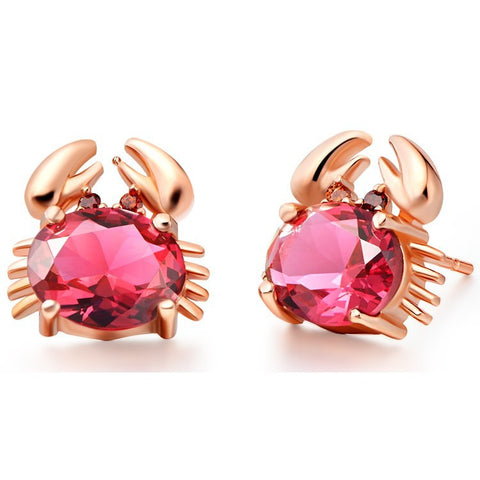 Sterling Silver Rose Gold Finish Crab Design Oval Ruby CZ Stud Earrings