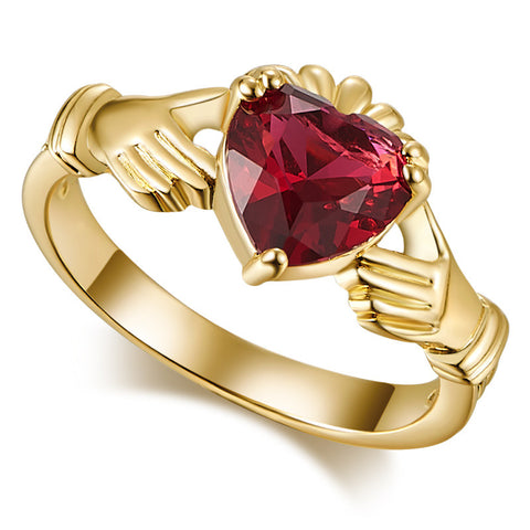 18K Gold Plated Cute Ruby Red Claddagh Ring Sz 6-10