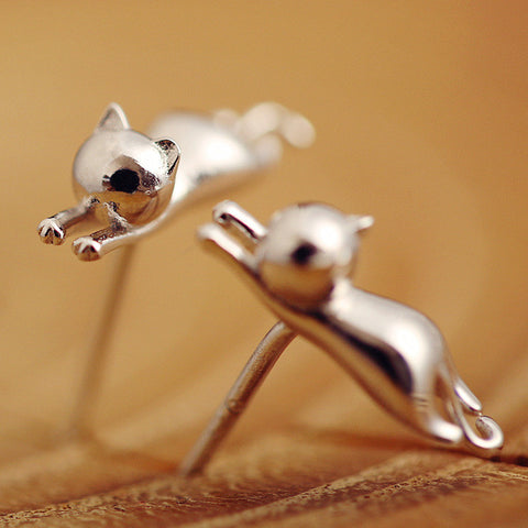 Sterling Silver Cute Leaping Cat Design Stud Earrings