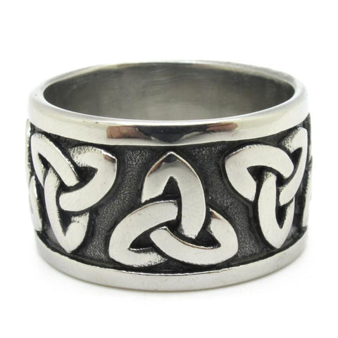 Stainless Steel Solid & Thick Design Tribal Tattoo Band Ring Sz 8-13