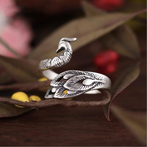 Sterling Silver Super Exotic Peacock Design Adjustable Ring