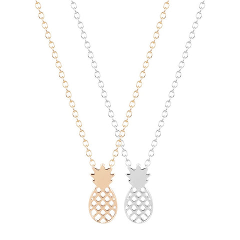 18K Gold Plated Choice of 2 Classic or White Gold Finish Pineapple Pendants w/ Chain