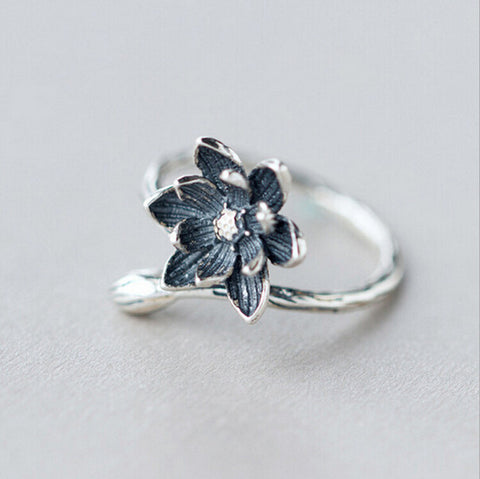 Sterling Silver Unique Lotus Flower Design Adjustable Ring