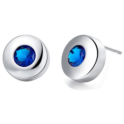 Sterling Silver Round Blue Sapphire CZ Stud Earrings