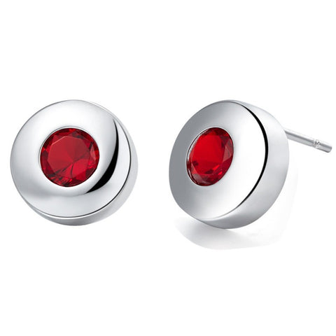 Sterling Silver Round Garnet CZ Stud Earrings