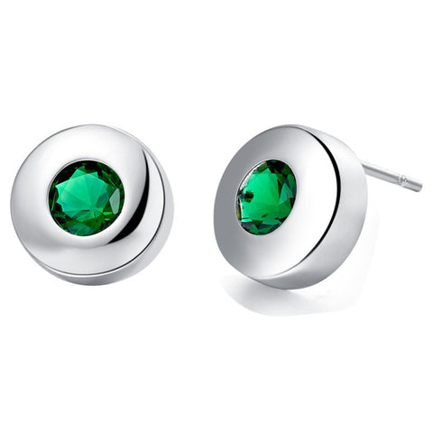 Sterling Silver Round Green Emerald CZ Stud Earrings
