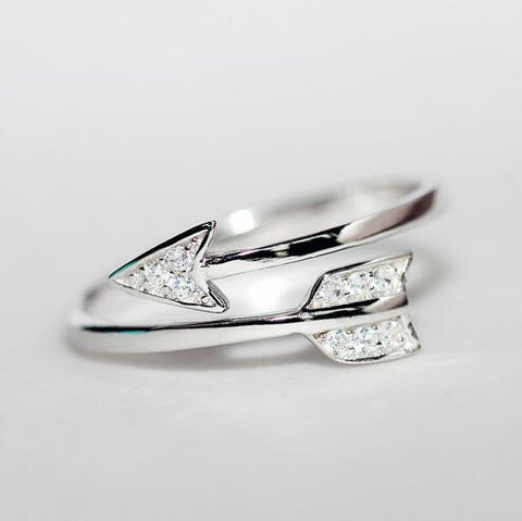 Sterling Silver Unique Cupid Arrow Ring Band Adjustable