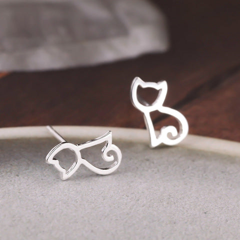 Sterling Silver Cute Design Cat Cut Out Stud Earrings
