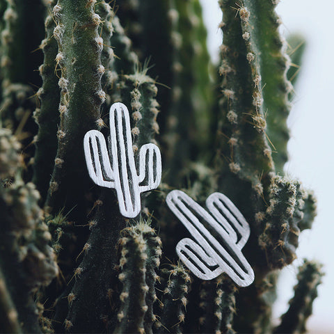 Sterling Silver Unique Cactus Design Stud Earrings