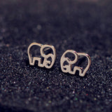 Sterling Silver Cute Elephant Stud Cut Out Stud Earrings