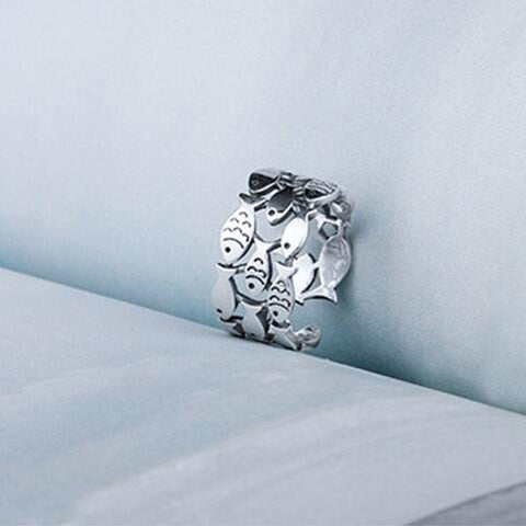 Sterling Silver Unique Multi Fish Design Adjustable Band Ring
