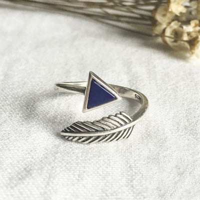 Sterling Silver Unique Triangle Feather Blue Arrow Ring Band Adjustable