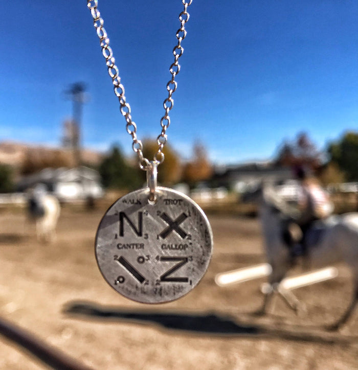 Walk, Trot, Canter, Gallup Pattern Disc Necklace