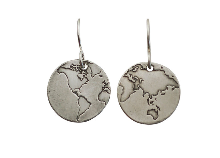 world map earrings