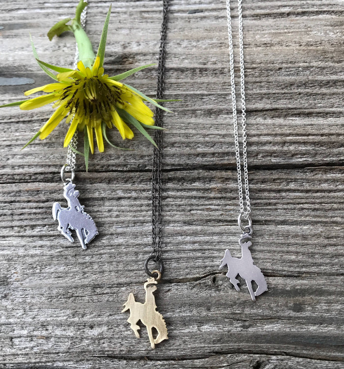 bronco necklace, cowboy necklace, cowgirl jewelry