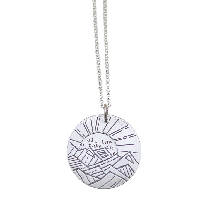john muir jewelry, mountains calling necklace,
