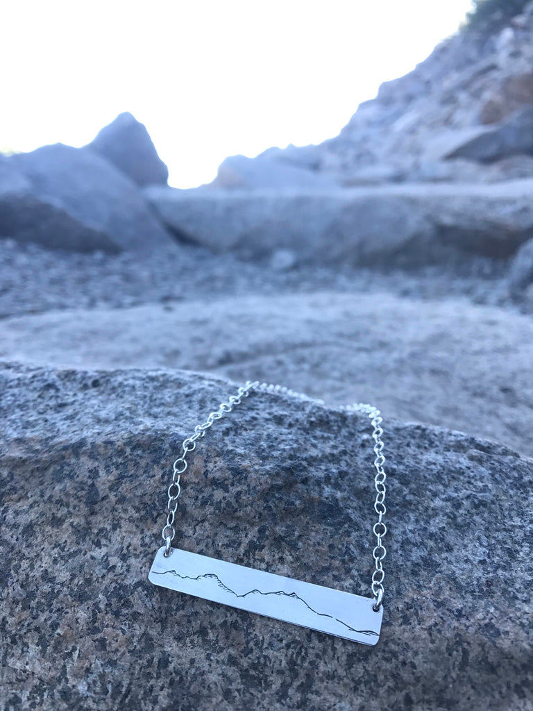 mountain bar necklace, simple mountain necklace