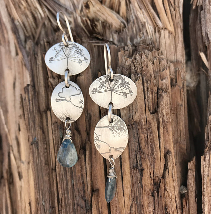 Kyanite Floral Earrings