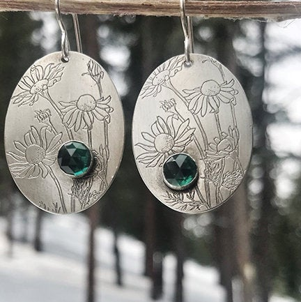 gemstone and chamomile earrings