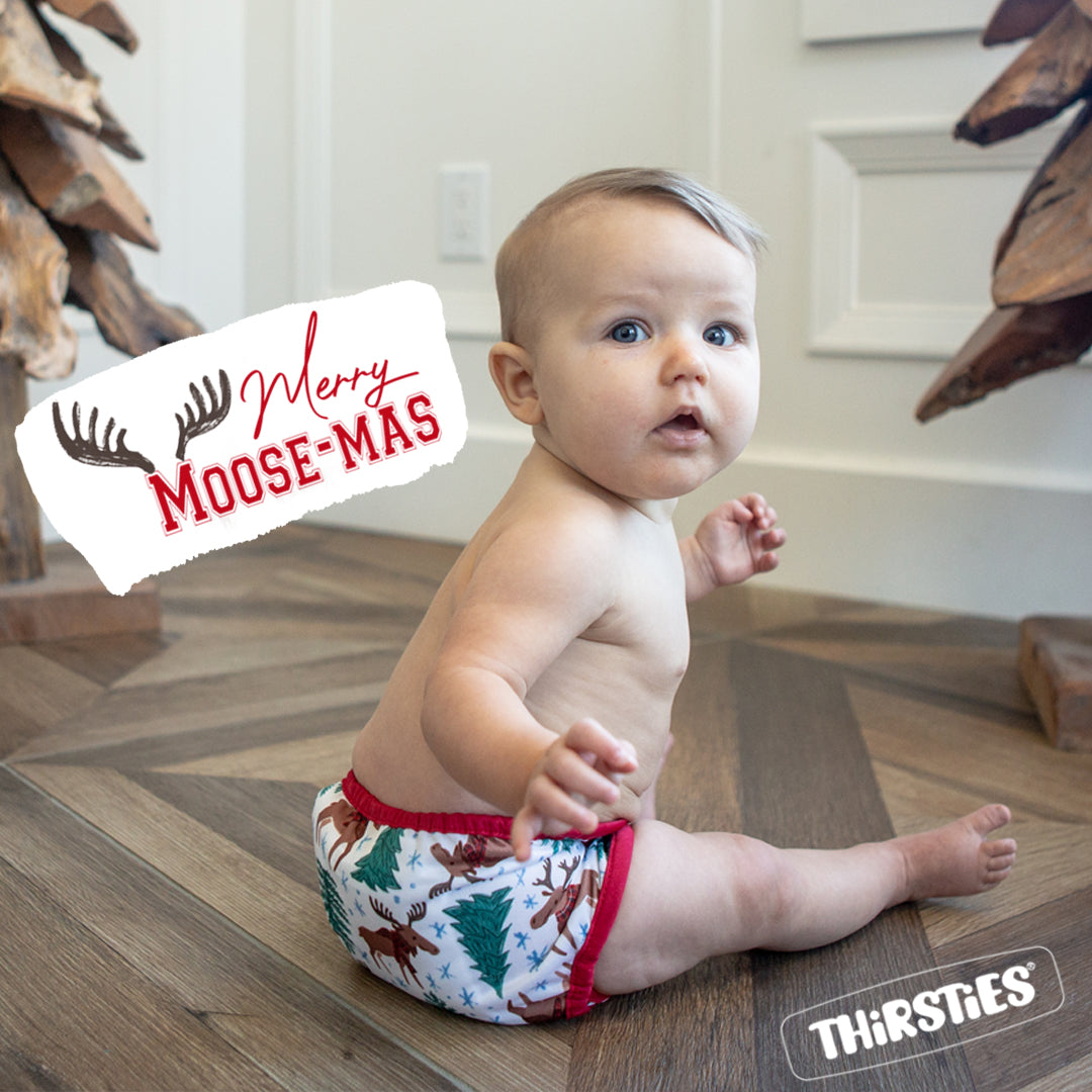 Thirsties Merry Moose-mas:  the perfect Canadian and holiday inspired diaper!