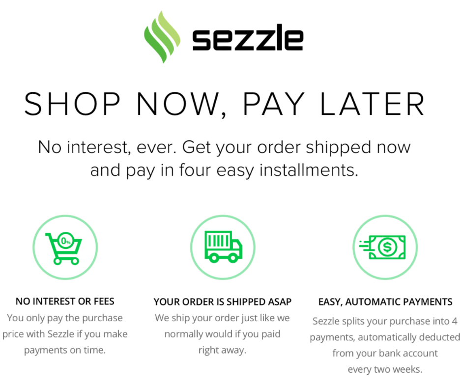 Sezzle is available now at Yellow Birch!