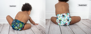 Image of two babies wearing cloth diapers