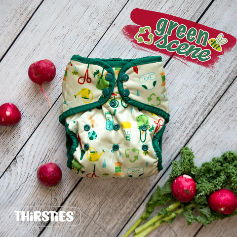 Image of Thirsties Cloth Diaper in Green Scene