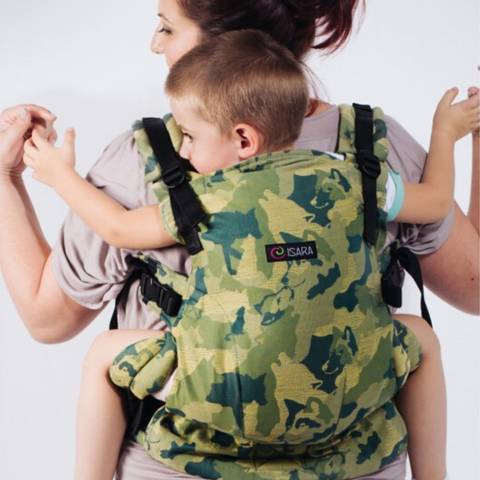 Image of woman wearing toddler in Isara the One Baby Carrier