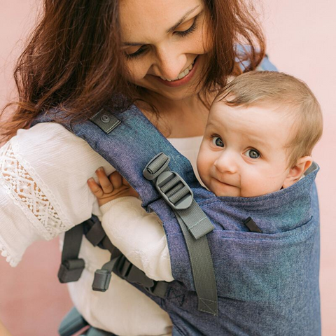 Image of woman wearing baby in Boba X Baby Carrier