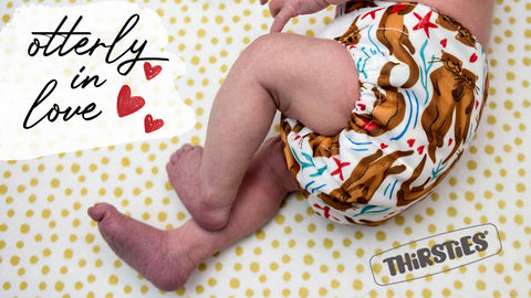 Thirsties Cloth Diapers Otterly in Love:  Image of baby wearing diaper